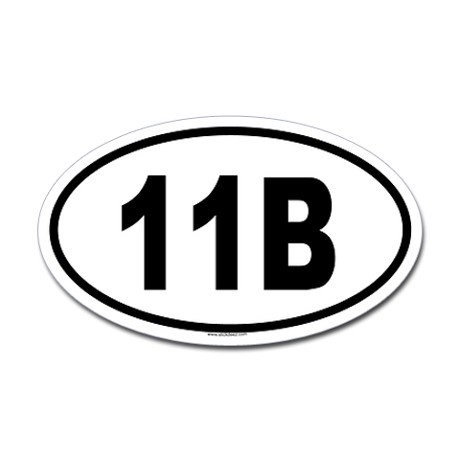 11B Oval Decal, Vinyl Car Decal, 'Red', '5-by-5 (Oval Red Car)