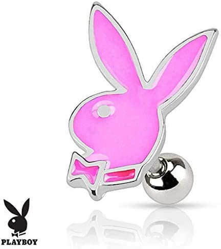 Forbidden Body Jewelry 16g Surgical Steel Glossy Colorful Epoxy Playboy Cartilage Stud Earring