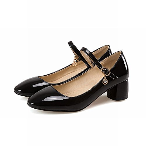 Mee Shoes Womens Charm Block-heel Ankle-wrapped Court Shoes Black SJCZ8VgMG