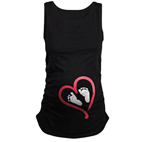 Smdoxi Maternity T-Shirt Top Cute Footprints Pregnant With Twins Maternity Tank Top Tunic (L, ()