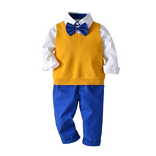 3Piece Toddler Baby Boys Gentleman Outfits Set, Long Sleeve Striped Shirt Ripped Denim Jean Bow Tie Sweater Vest Clothing