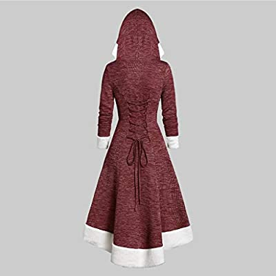 Sttech1 Blouse for Women, Long Sleeves Patchwork Hoodie Dress Double Button Cable Asymmetric Hem Wrap Pullover Tops: Clothing