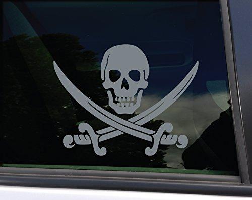 Pirate Skull and Swords Vinyl Decal Laptop Car Truck Bumper Window Sticker, 5.5