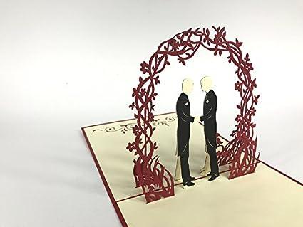 Tarjeta de felicitación de boda para boda, boda, gay, bajo flores ...