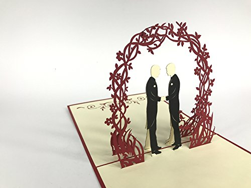 Wedding Wishes di matrimonio coppia gay sotto fiori arco rosso grande matrimonio di nozze in Wishes di congratulazioni festa di nozze invito 3D di