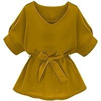 Milumia Women's V Neckline Self Tie Short Sleeve Blouse Tops