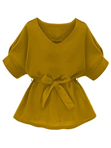 Milumia Women's V Neckline Self Tie Short Sleeve Blouse Tunic Tops Yellow-2 -