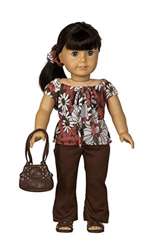 "Diana Collection Floral Print Blouse and Brown Pants. Complete Outfit with Sandals. Fits 18"" Dolls like American Girl"