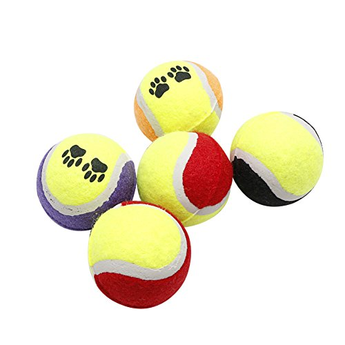 (Mimgo 1pc Small Colorful Ball Toy for Dog Cat Bouncy Tennis Play Catch Toy)