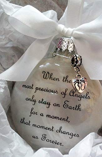 (Infant Memorial Ornament - The Most Precious of Angels w/Footprints Charm - In Memory of Baby Loss Sympathy Gift)