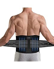 DINOKA Rugbandage voor mannen en vrouwen, rugsteunriem voor verlicht pijn, verstelbare taille trimmer riem dubbele sluiting, lendensteun voor de perfecte pasvorm