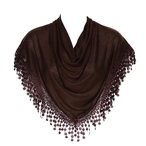 Stylish Chocolate Brown Triangle Bobbin Lace Fringed Ladies Womens Scarf Shawl Wrap