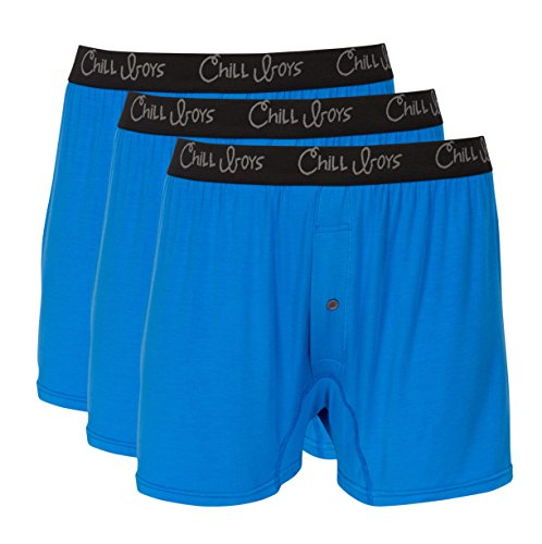 Chill Boys Soft Bamboo Mens Boxers 3 Pack - Cool, Comfortable Bamboo Underwear by (XXL, Bamboo Blue) Boys Sleep Boxers