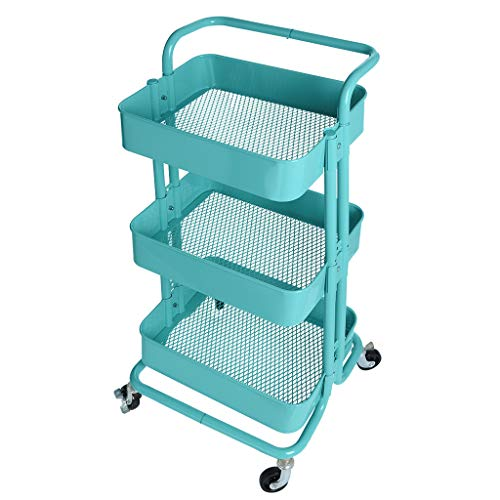 TKI-S 3-Tier Metal Cart Rolling Storage Shelves with Handles Storage Utility Cart for Kitchen, Garage, Bathroom, Patio, Courtyard, Dining Room, Etc(Blue, 16.93