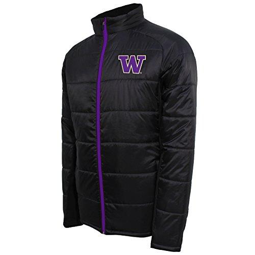 NCAA Washington Huskies Men's Campus Specialties Full Zip Quilted Puffer Jacket, Carbon/Purple, X-Large