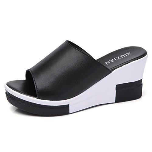 Tacco Donna Colore Pantofole Spiaggia Con Toe Nero Cuciture Scarpe Da Peep Sandali Zeppe Piattaforma yqgYwSqU