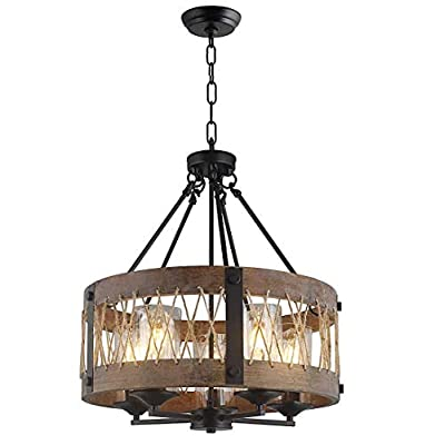 """Wood Wooden Shade Ceiling Light Fixture Pendant Retro Industrial French Country Vintage Antique Chandelier Restaurant Bar Pendant Lamp Nostalgic Cafe (20"""" Width X 21"""" Height)"""
