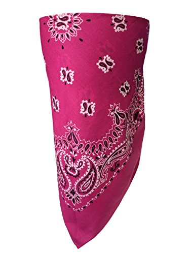 American Made Pink Paisley Adjustable Close Bandanna For Women Face Cover Reversible Sun and Wind Protection, Lady Biker ChopTop ATV Rider