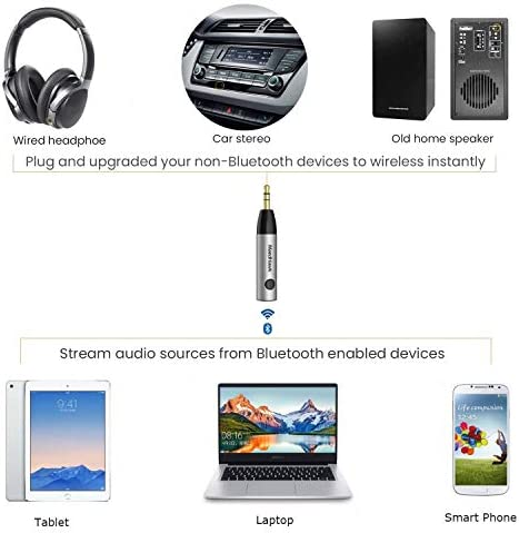 ADATECH Ricevitore Bluetooth 4.2 Adattatore jack 3.5 mm Auto Aux Audio Stereo Handsfree