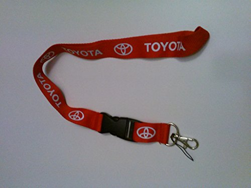 Red & White Logo Keychain Key Chain Black Lanyard Clip with Webbing Strap Quick Release Buckle - Red Logo Ferrari