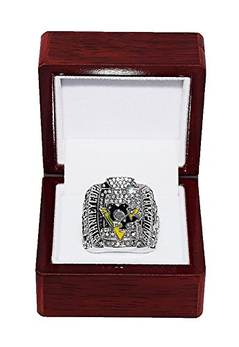 PITTSBURGH PENGUINS (Sidney Crosby) 2009 STANLEY CUP FINALS WORLD CHAMPIONS Vintage Rare & Collectible High-Quality Replica NHL Hockey Silver Championship Ring with Cherrywood Display Box Trackside Autographs