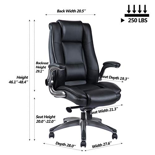 VANBOW High Back Leather Office Chair - Adjustable Tilt Angle and Flip-up Arms Executive Computer Desk Chair, Thick Padding for Comfort and Ergonomic Design for Lumbar Support, Black by VANBOW (Image #5)