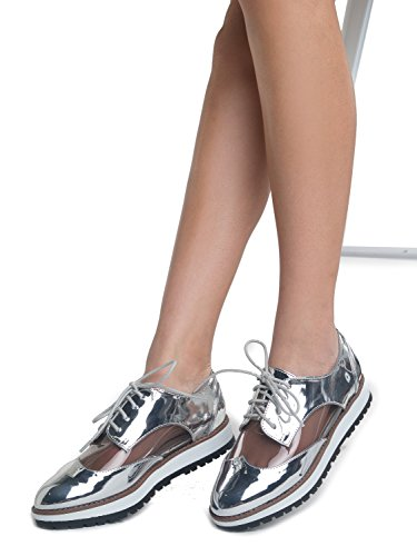 Shy Metallic Toe Leatherette Silv Top Pu Rounded Oxford Lace Reflective ZooShoo Up Wedge Met Upper Low Platform n4OwPtq6Yx