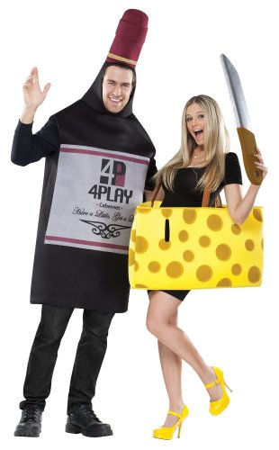 Couple Adult Costumes (FunWorld Perfectly Paired Wine And Cheese Set, 2 COSTUMES IN 1 BAG,  Black/Yellow, One Size)