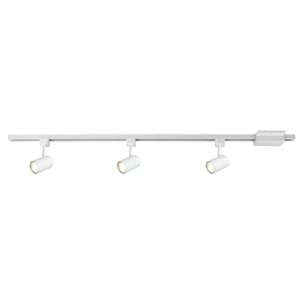 Hampton Bay Mini Cylinder 44 in. White Integrated LED Linear Track Lighting Kit