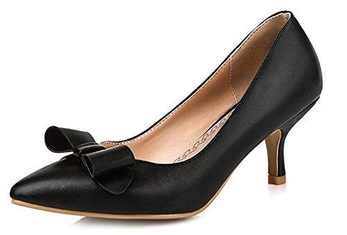 Easemax Femmes Élégante Bout Pointu Coupe Basse Stiletto Chaton Talons Glisser Sur Les Pompes Chaussures Avec Des Arcs Noirs