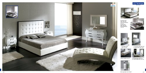 ESF Penelope White Leatherette & Veneer Platform Bedroom Set