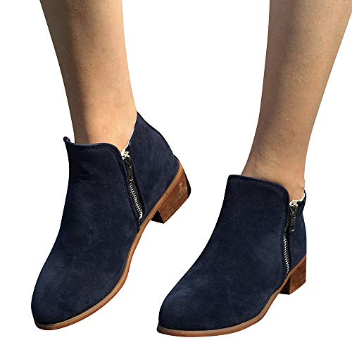 Boots Clearance Sale !! FarJing Women Ankle Short Booties Knight Ladies Suede Martin Boots Shoes Zipper Boot(US:7.5,Blue)