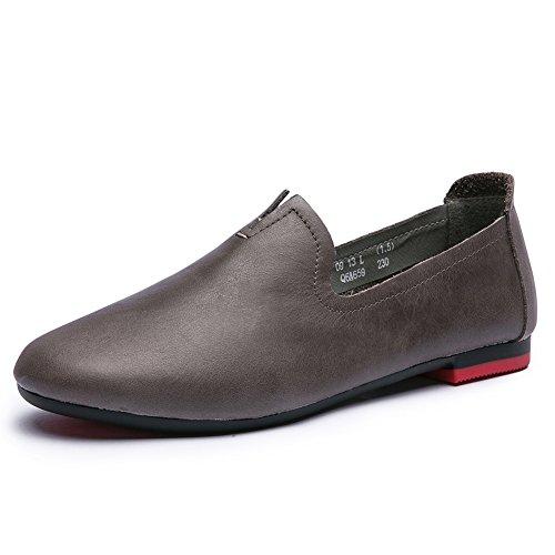 Zapatos de mamá y de ocio//Zapatos planos ronda/Antideslizante suela suave zapatos retro en la caída B