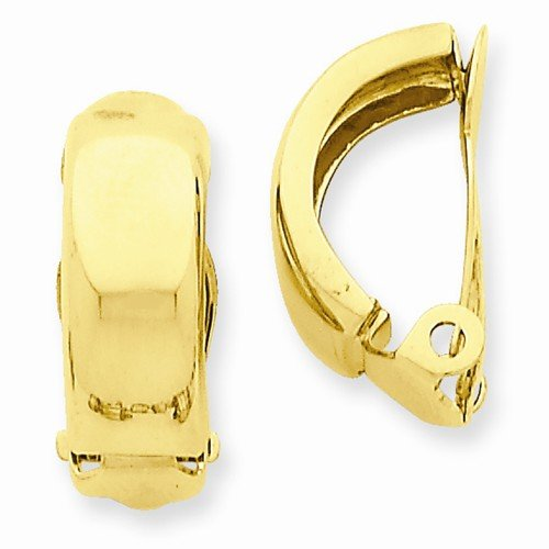 Solid 14k Yellow Gold Non Pierced Polished Earrings (18mm x 6mm) 14k Yellow Gold Pierced Earrings
