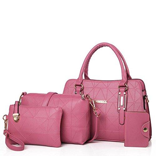 Femmes Trois Pink Sac Une Forfait Red LXYIUN Épaule en Fille Set Sac Bandoulière Main en Pièces Sac Assemblage Cuir À Fw0fwqd