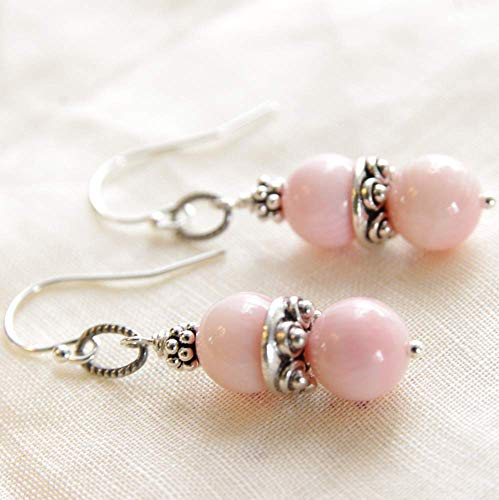 (Pink Coral Earrings Sterling Silver Bead 35th Anniversary)