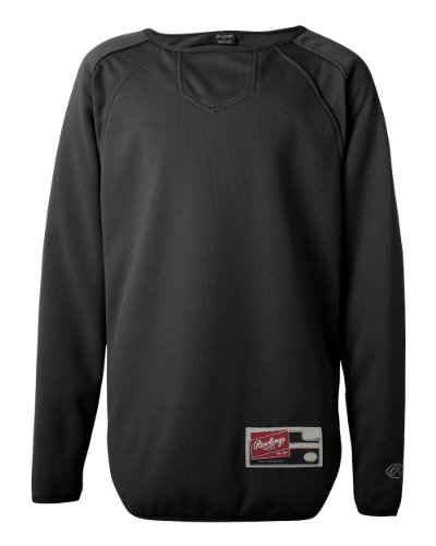 Rawlings Youth Flatback Mesh Long Sleeve Fleece Pullover (Black) (XL)