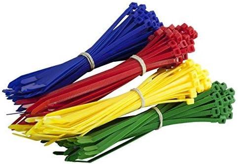 Gocableties - Lote de 200 bridas de nailon de alta calidad, 200mm x 4.8, color rojo, verde, azul y amarillo, multicolor
