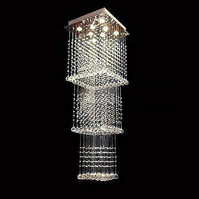 FidgetGear Modern Square Rain Drop LED K9 Crystal Chandelier Pendant Light Ceiling Lighting by FidgetGear (Image #1)