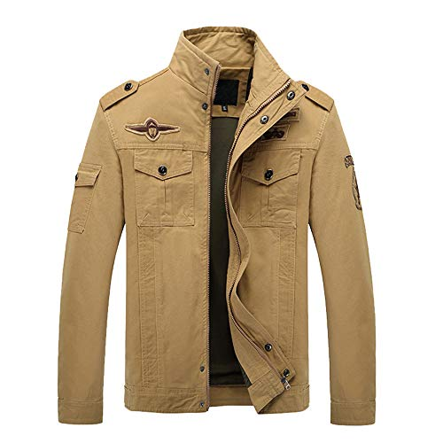 Realdo Mens Military Combat Jacket Clearance, Winner Casual Zipper Tactical Pocket Long Sleeve Cargo Coat(Small,Khaki)]()