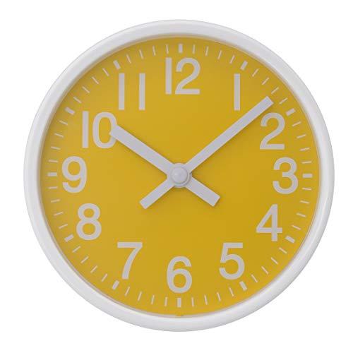 COMODO CASA Wall & Desk Clock- Metal Colorful Frame-Glass Cover-Non Ticking-Quartz Sweep-Silent 6 inch Retro Clock (Yellow & White)