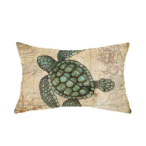 Jimrou Throw Pillow Cover 12x20inches Festival Gifts Hand Painted Watercolor Sea Underwater Turtle Retro Map Background Cotton Linen Decorative Home Sofa Chair Lumbar Throw Pillow Case Cushion Cover (Me And You The Cushion Sea)