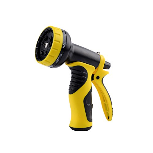 VOLFO Garden Hose Nozzle, Spray Nozzle, Plastic ABS Water Nozzle, Heavy Duty 9 Adjustable Watering Patterns, Yellow, 12-Month Worry-Free Quality Warranty