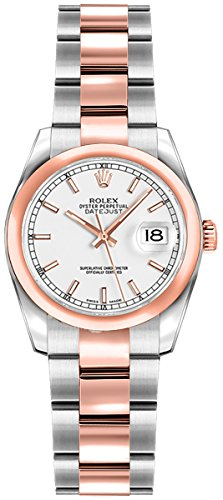 Women's Rolex Lady-Datejust 26 White Dial Steel/Rose Gold Luxury Watch (Reference: 179161) (White Rolex Gold Watches)