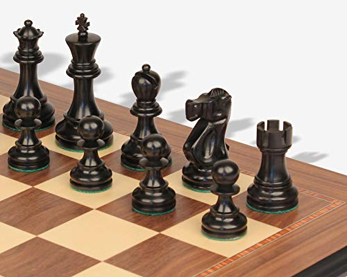 Deluxe Old Club Staunton Chess Set Ebony & Boxwood Pieces with Walnut Molded Edge Chess Board - 3.25