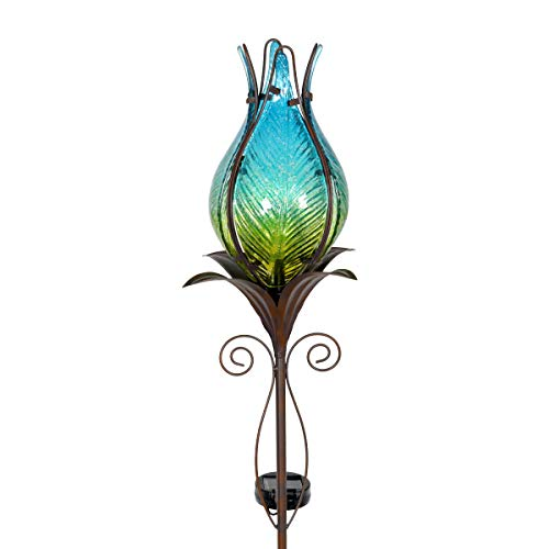 - Exhart Flower Light Garden Stake - Durable Glass