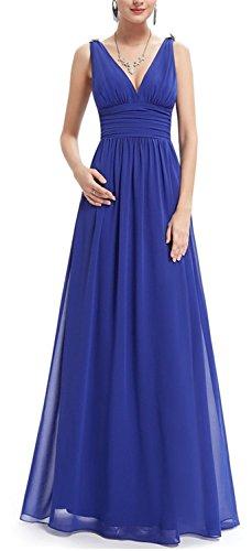 SHUNLIU Vestidos de Mujer Largos de Fiesta Encantador Vestido de Noche Vestidos de Fiesta sin Mangas Elegantes Azul
