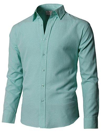 H2H Mens Button Up Shirts Casual Oxford Cotton Slim Fit Long Sleeve Mint US M/Asia L (KMTSTL0551)