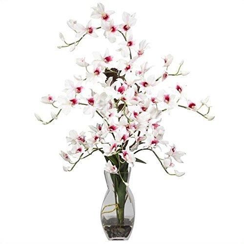 Nearly Natural Dendrobium w Vase Silk Flower Arrangement Dendrobium Silk Orchid Arrangement