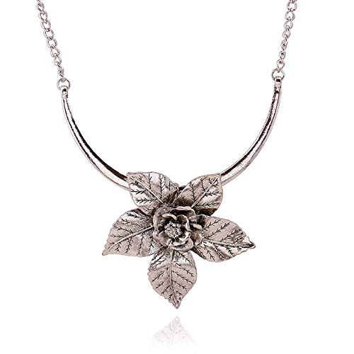 Main Stone Color: Silver, Length: 45cm Davitu Dominated Women New Fashion Flower Trend Accessories Necklace Short Clavicle Sweater Chain